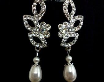 Pearl Drop Bridal Earrings, Leaves Wedding Earrings, Vines Earrings, Teardrop Wedding Jewelry, Swarovski Crystal Bridal Jewelry, VINEYARD