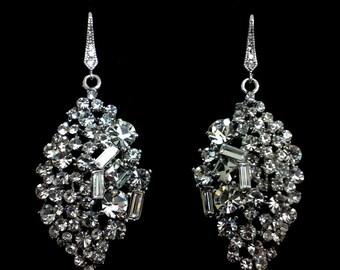 Bridal Earrings, Woodland Wedding Jewelry, Swarovski Crystal Bridal Jewelry, Dangle Wedding Earrings, SPARKLE