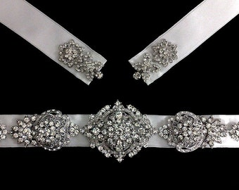 Statement Bridal Sash, Victorian Wedding Belt, Gatsby Sash, Art Deco Sash, Swarovski Crystal Wedding Sash, Silver Bridal Belt, VICTORIANA
