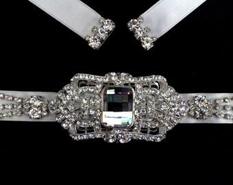 Crystal Bridal Sash, Art Deco Bridal Belt, Gatsby Wedding Sash, Geometric Dress Jewelry, Statement Wedding Belt, Swarovski Belt, DECORIA