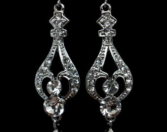 Crystal Bridal Earrings, Victorian Wedding, Cz Drop Earrings, Cubic Zirconia Swarovski Jewelry, REGINA