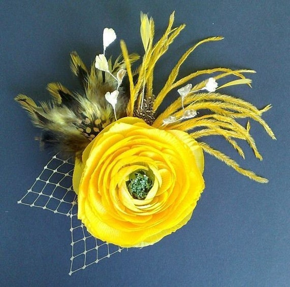 Summer Bridal Bridesmaids Fascinator Ranunculus Yellow Gold Feather Flower MELIANA 3 Inch- CUSTOM