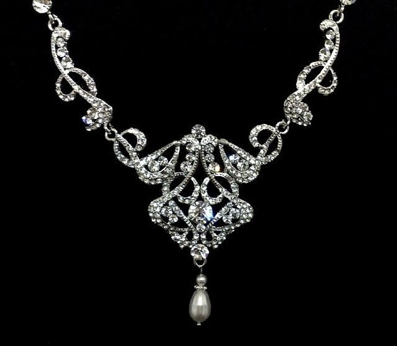 Statement Bridal Necklace, Art Deco Wedding, Swarovski Crystal Bib Necklace, Pearl Dangle Jewelry, CARMEN