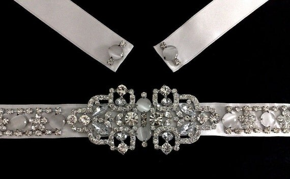 Gatsby Wedding Sash, Art Deco Bridal Sash, Statement Wedding Belt, Geometric Bridal Dress Jewelry, Swarovski Crystal Wedding Belt, EVITA