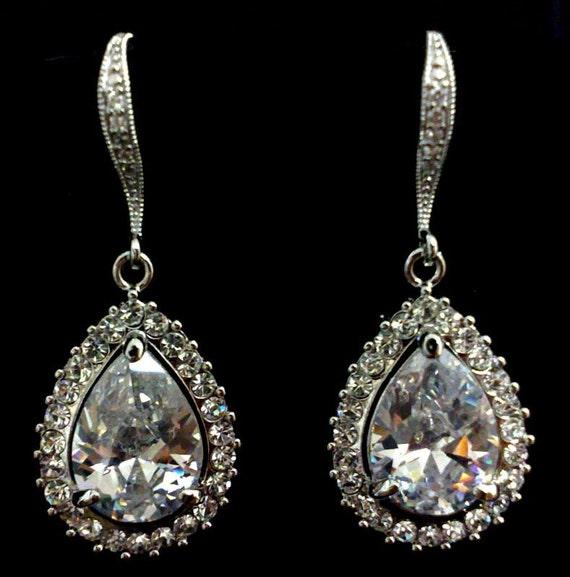 Teardrop Bridal Earrings, Pear Drop Wedding Earrings, Cubic Zirconia Bridal Jewelry, Cz Wedding Jewelry, Gift for Her, MANDOLIN