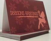 Holiday FLIRTY Collection - Set of 10 Pinup Girl Silhouette Greeting Cards (Brown/Pink)