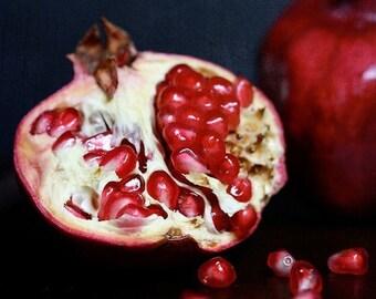 Pomegranate, cut open (set of 4 blank cards, photo art print)