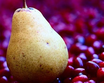 Pear on the bed of red berries, Fine art photograph, print 8.5x11