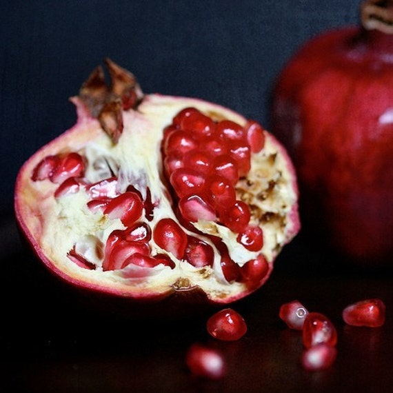 Pomegranate cut open, Fine art photograph, print 8x8
