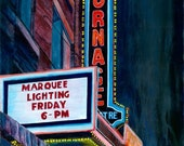 Turnage Movie Theater,  Washington North Carolina Digital Print,  Theater Decor,  Historic Building,  Marquee Lights, Vaudeville Stage