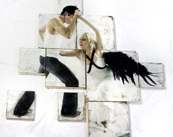 Jacob's fight with the Angel - mixed media encaustic artwork multiple panels