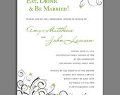 "Eat, Drink and Be Married - ""Meadow"" Rehearsal/Groom's Dinner Invitation. Option to Print."