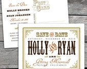 Western Chic Save The Date Postard. Option to Print