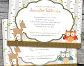 Woodland - Baby Shower, Bridal Shower, or Birthday Invitations. Option to Print.