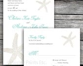 Starfish No.1 Beach Wedding Invitation and Reply. Option to Print.