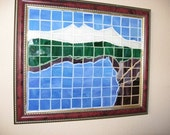 stained glass tile mountain picture