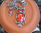 Owls times two necklace vintage
