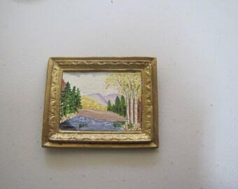 Dollhouse painting landscape in porcelain frame