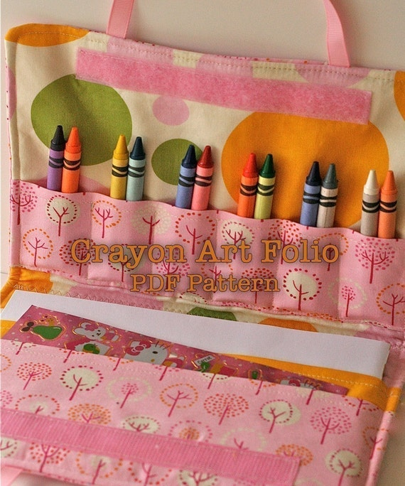 Crayon Art Folio Holder PDF Pattern Perfect for Travel Vacation and Organization