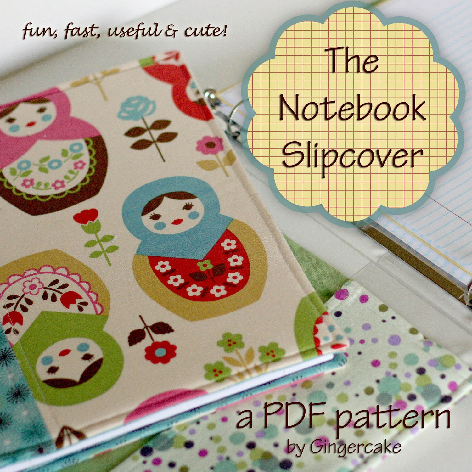 Notebook Cover Sewing Pattern : Notebook binder cover sewing pattern a pdf any