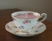 White with Pink, Yellow and Blue Flowers Vintage Teacup Clean Burning Soy Candle - Pomegranate Scent