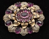 Big Rhinestone Vintage Pin - 20s Art Deco - Amethyst Paste Commemorative Brooch