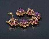 Vintage Bracelet 40s Purple Art Glass Filigree Link Bracelet