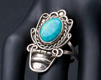 Vintage Native American Ring Turquoise Flower Pot Native American Sterling Ring sz 10 1/2 - Best Buy