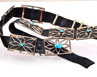 Concho Belt Navajo Sandcast - Vintage Native American - Sterling Turquoise Leather  280g