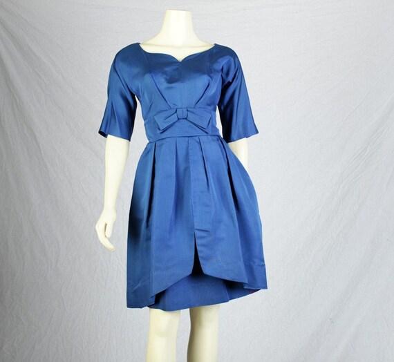 Reserved for Kanognosti until 3/17   60s Cobalt Satin Tulip Skirt Party Dress M Vintage