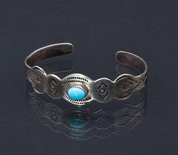 Vintage Bracelet 40s Pre Eagle Mexico Sterling Stamped Turquoise Bracelet - Best Buy