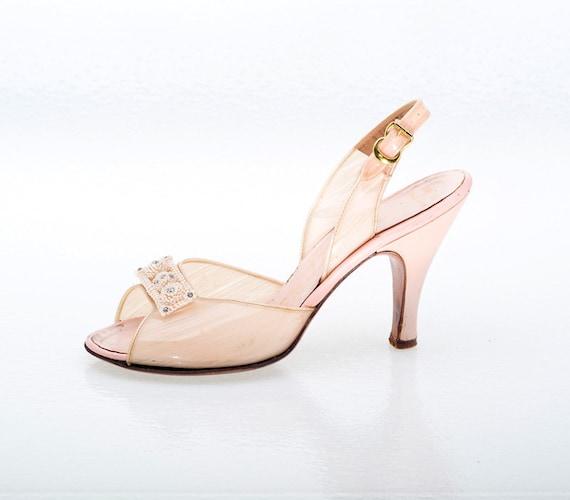 Vintage Shoes 50s Designer Sugar Pink Vinyl Slingback Shoes Heels 6 M