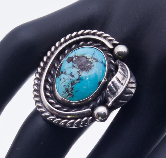 70s Navajo Ring - Kingman Turquoise Cabochon - Sterling - sz 6 1/2 - Best Buy