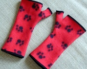 Red with Black Paw Prints Fleece Fingerless Gloves