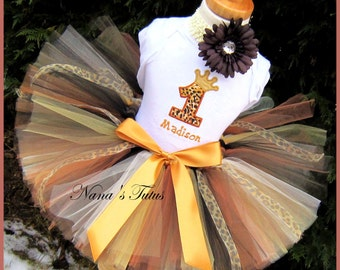 3pc,Birthday Princess Crown, Number, Party Outfit,Tutu set, Personalized, Safari Themed Parties in Sizes 1yr thru 5yrs