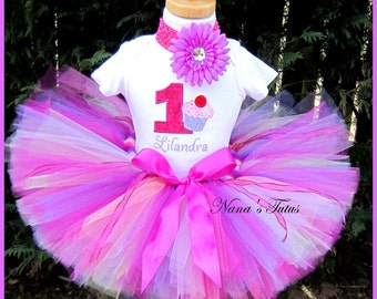 Birthday Cupcake with Number, Party Outfit, Theme Party,Tutu Set,Birthday Tutu Set,Personalized  Sizes 1yr thru 5yrs