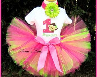 Custom Birthday Mod  Monkey,Party Outfit,Tutu Set, Personalized,  Theme Parties, Monkey Birthday, Sizes 1yr thru 6yrs