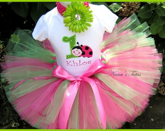 Hot Pink ,Ladybug with Number, Party Outfit ,Theme Parties,Personalized, in Sizes 1yr thru 4yrs