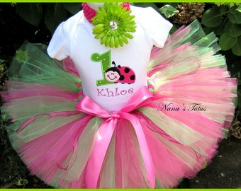 Hot Pink ,Ladybug with Number  Party Outfit ,Theme Parties,Ladybug Birthday,Personalized, in Sizes 1yr thru 5yrs