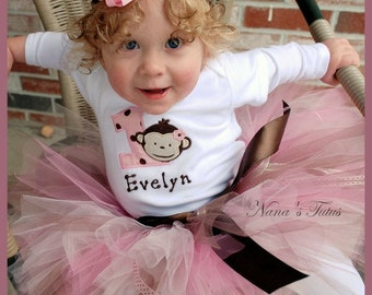Pink and Chocolate  Birthday Mod  Monkey,Party Outfit, Theme Parties, Birthday Tutu Set, in Sizes 1yr thru 5yrs