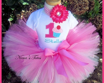 3pc,Birthday Girl Cupcake,Party Outfit, Cupcake with Number, Theme Party, Tutu Set in Sizes 1yr thru 4yrs