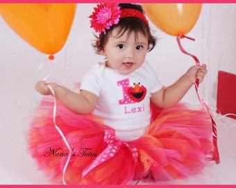 Custom,Party Outfit, Birthday Elmo with Number,  Polka Dots and Elmo,  Theme Parties in Size 1yr thru 5yrs