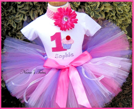 Birthday Cupcake with Number,Personalized, Theme Party,Party Tutu Set  Party Outfit in Sizes 1yr thru 5yrs