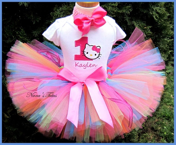 Hello Kitty with Number,Party Outfit, Tutu Set , Personalized,Theme Parties  in Sizes 1yr thru 5yrs