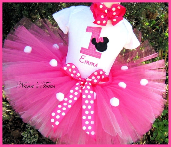 Hot Pink, Minnie Party Outfit ,Minnie with number,Theme Party, Birthday Tutu Set in Sizes 1yr thru 5yrs