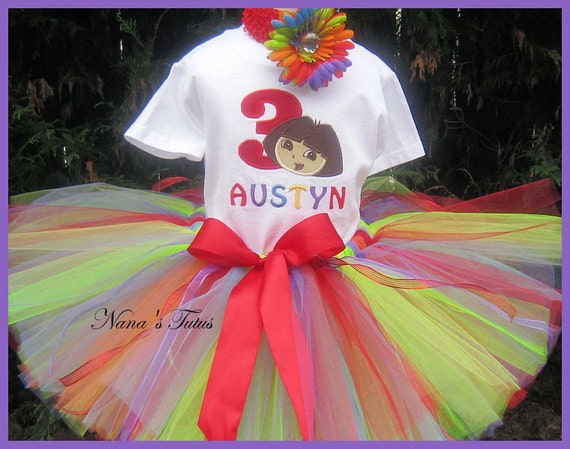 Birthday Dora with Number, Party Outfit,Theme Party, Personalized, Multi Color in Sizes 1yr thru 5yrs