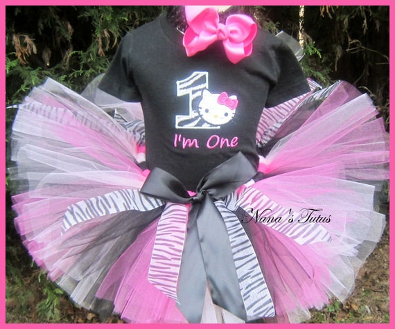 Zebra Hello Kitty with Number, Hello Kitty Party Outfit, Hello Kitty Theme Party, Custom and Personalized in Sizes 1yr thru 6yrs