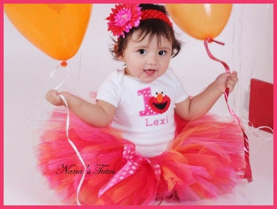 Birthday Elmo with Number, Party Outfit, Polka Dots and Elmo,  Theme Parties in Size 1yr thru 5yrs