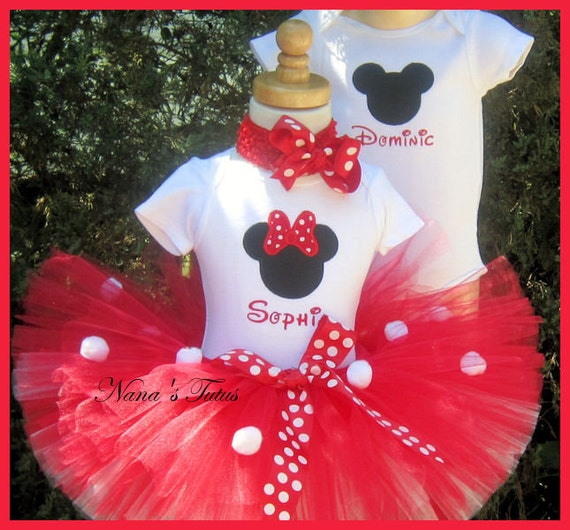 Twins , His and Hers,Mickey and Minnie, Party Outfits,Theme Party,Birthday Tutu Sets,Personalized,Photo Shoot  Sizes to 3yrs