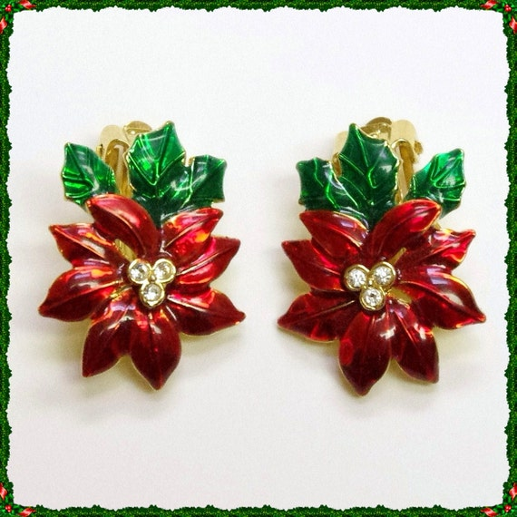Vintage Christmas Jewelry Poinsettia Earrings Goldtone Red